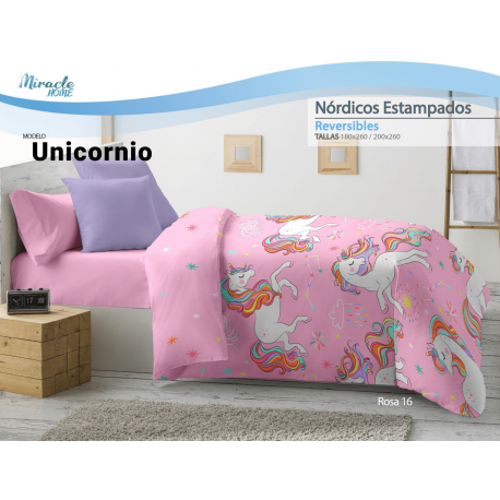 EDREDON NORDICO REVERSIBLE MIRACLE UNICORNIO